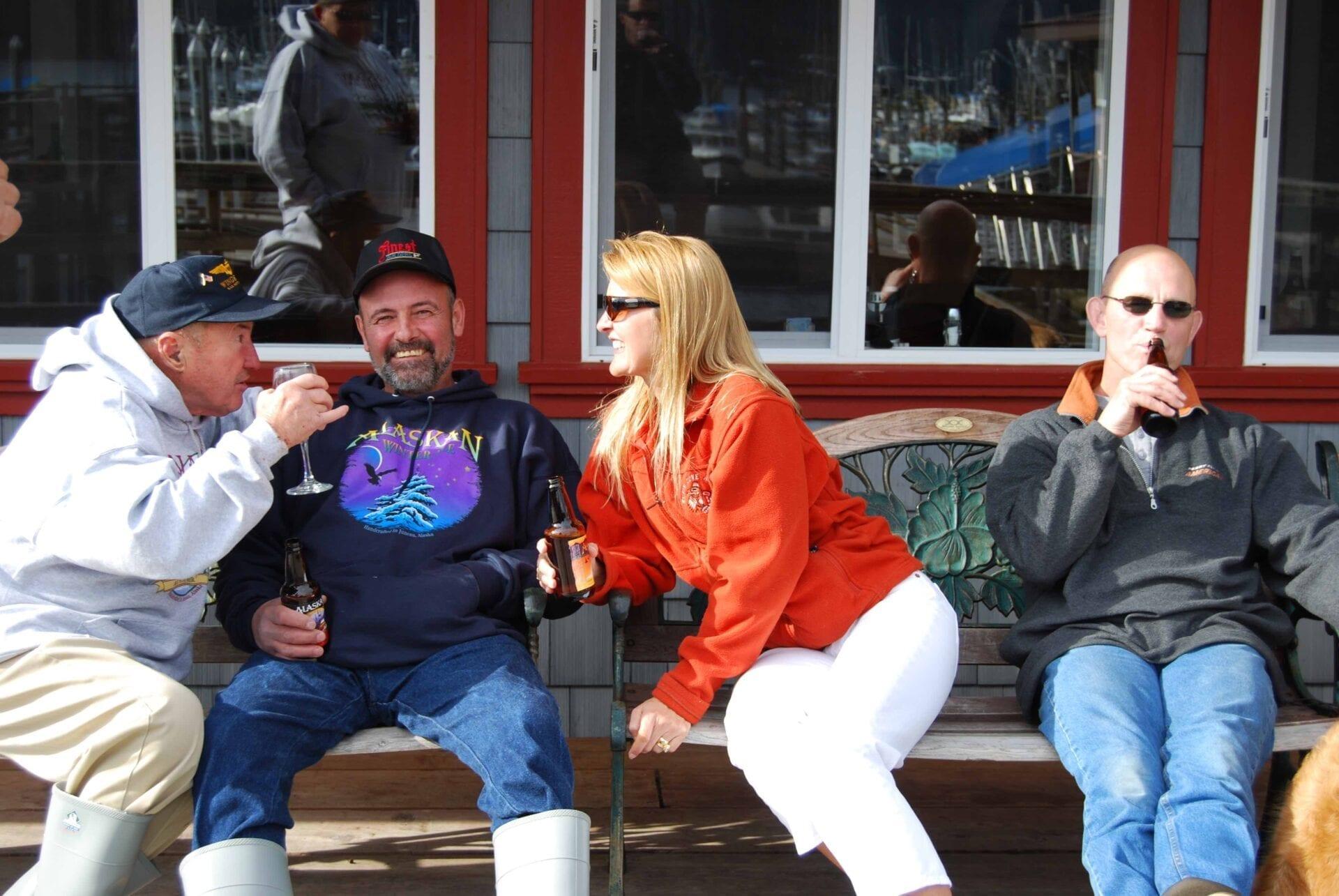 Armand, Robert, Jill & Steve in Front of Lodge